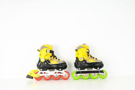 Inline vintage gekleurde kunststof schaatsschoen Stockfoto