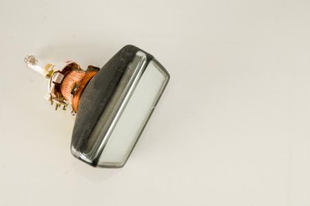 Back of old television cathode tube isolated on white