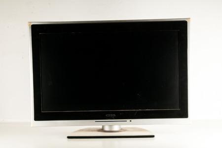 Black LCD tv slim screen monitor on white background