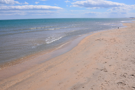 Photo picture Empty mediterranean sand beach in south france Stockfoto