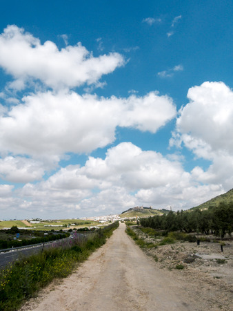 Photo Picture of a Dirt road leading off into the desert Stock Photo