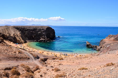 Spanish View Landscape in Papagayo Playa Blanca Lanzarote Tropical Volcanic Canary Islands Spain Stock Photo