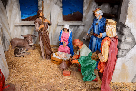 Christmas nativity scene crib with baby Jesus Mary Joseph