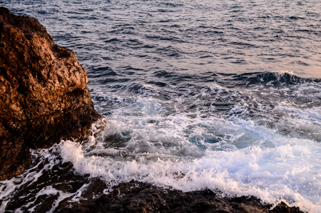 Strong Waves Crashing on the Volcanic Coast in Tenerife Canary Islands Stock Photo