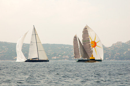 Editorial SARDINIA - SEPTEMBER 2005: Participants in the Maxi Yacht Rolex Cup boat race Stock Photo - 114942495