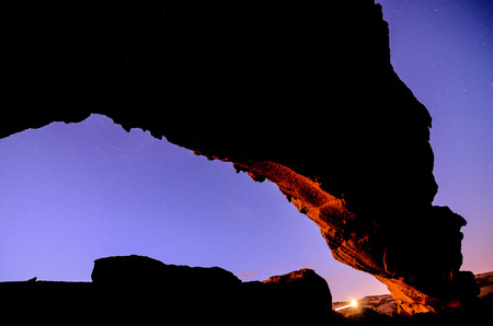 Night Sky Picture of a Basaltic Natural Arch