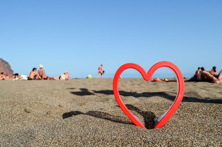Photo Picture of an Heart on the Sand Beach Stok Fotoğraf
