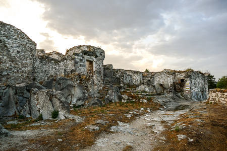Old Gessopalena town public archeological site of the old medieval village in gypsum stone Stock Photo