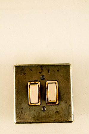 Close-up of elctric switch interruptor Object on a White Background