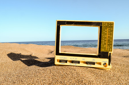 Photo Picture of a Television on the Sand Beach
