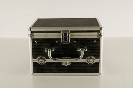 empty metal money security box isolated on white background 版權商用圖片