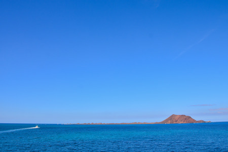 Spanish View Landscape in Isla de los Lobos Lanzarote Tropical Volcanic Canary Islands Spain
