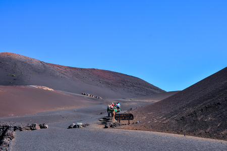 Volcanic landscapes on Timanfaya Lanzarote Canary Islands Spain Stock Photo