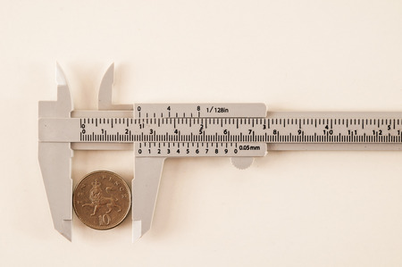 Close up image of Vernier Caliper isolated on white background