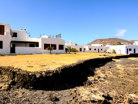 Spanish View Landscape in La Graciosa Lanzarote Tropical Volcanic Canary Islands Spain Stockfoto