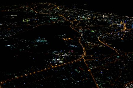 Beautiful photo picture of Istanbul in the night from the airplane sky