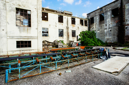 Abandoned Old Ruined Industrial Plant in Veneto Italy Stok Fotoğraf