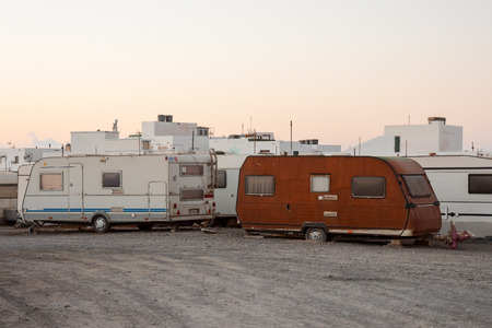 Photo Picture of a Caravan Park in the Desert Stock Photo