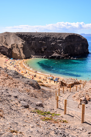 Spanish View Landscape in Papagayo Playa Blanca Lanzarote Tropical Volcanic Canary Islands Spain Stok Fotoğraf