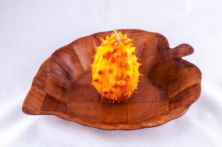 Kiwano Cucumis Metuliferus Exotic Vegetable Tropical Orange Fruit Фото со стока