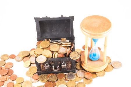 Picture of a Business Money Concept Idea, Treasure Trunk and Money Stock Photo