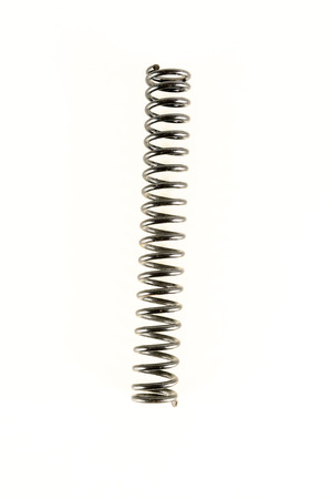 Gray metal spring on a white background