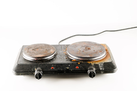 Black Portable electric cooker isolated on white background Banco de Imagens