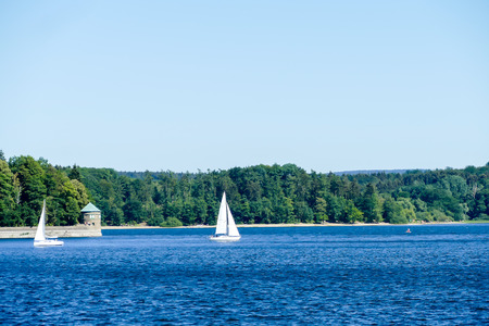 sailing boat on the river, beautiful photo digital picture Stock fotó