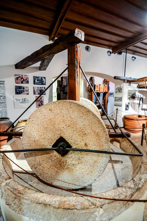 Ancient italian olive oil machine used to make oil Stock Photo