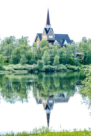 church on the lake, beautiful photo digital picture Stock Photo