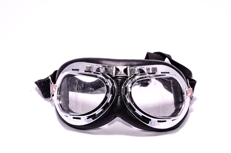 Black Retro Vintage Leathern Goggles for Motorcyclist on Black Background Stock Photo
