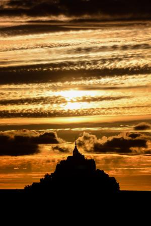 Panoramic view of famous historic Le Mont Saint-Michel tidal island Normandy northern France Reklamní fotografie