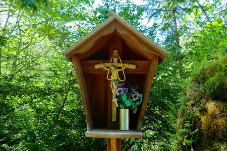 Jesus christian cross in National Park Tre Cime di Lavaredo Dolomites South Tyrol Banco de Imagens