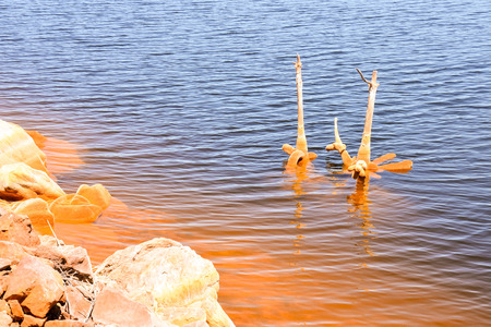 copper red polluted lake mine in Gossan Cobre Huelva Spain Stock Photo