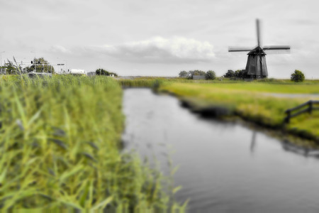 Photograph of a Classic Vintage Windmill in Holland