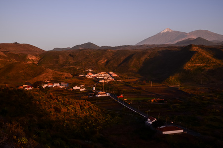 Canarian Village among a forest of pines in the mountain at tenerife in the Spanish Canary Islands.