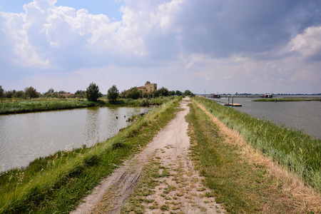 Photo pictureLandscape of The Po Delta River in Italy Stok Fotoğraf