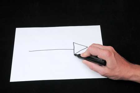 A Caucasian Male Hand Drawing on a White Paper Stok Fotoğraf