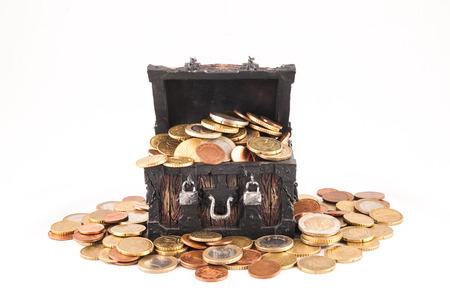 Picture of a Business Money Concept Idea, Treasure Trunk and Money Standard-Bild