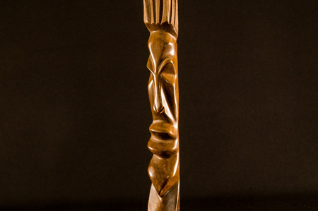Close up of African traditional wooden Statue figurine