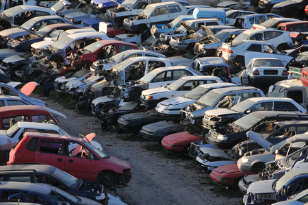 Scrap Yard With Pile Of Crushed Cars in tenerife canary islands spain Foto de archivo