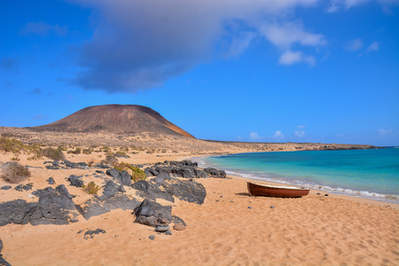 Spanish View Landscape in La Graciosa Lanzarote Tropical Volcanic Canary Islands Spain Imagens
