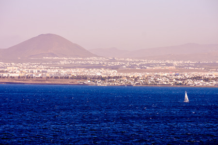 View of the harbour in Puerto del Carmen in Lanzarote Canary Islands Spain