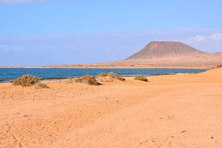 Spanish View Landscape in La Graciosa Lanzarote Tropical Volcanic Canary Islands Spain 版權商用圖片