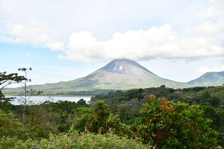 Arenal Volcano lake park in Costa rica central america, digital image background Imagens