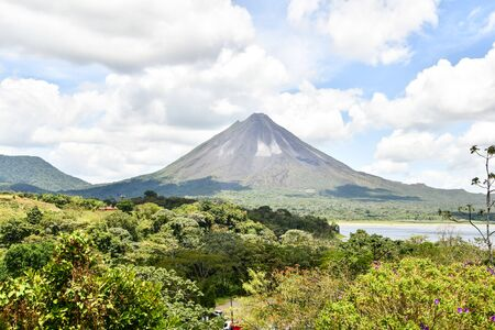 Arenal Volcano lake park in Costa rica central america, digital image background