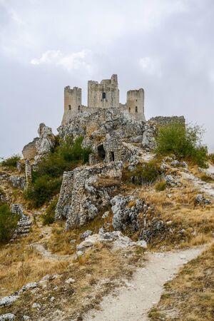 Rocca Calascio old Italian castle Location film of famous film The Name of the Rose Фото со стока