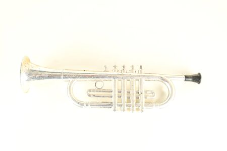 Close-up of silver trumpet Object on a White Background Imagens