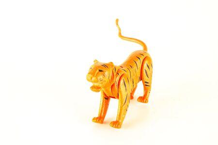 Close-up of feline cat lion plastic animal Object on a White Background 版權商用圖片