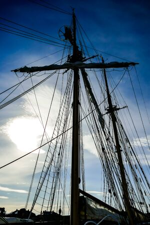mast and rigging of ship, beautiful photo digital picture